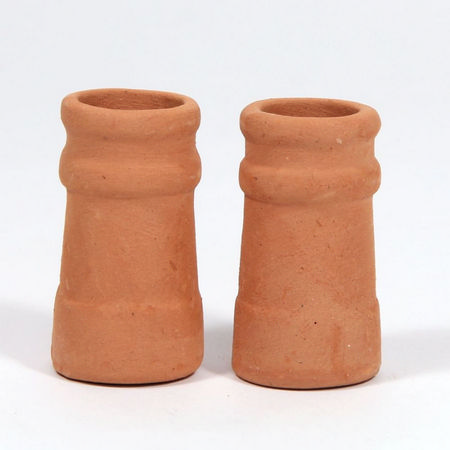 Chimney Pots (pair) - Round for 1:12 Scale Dolls House