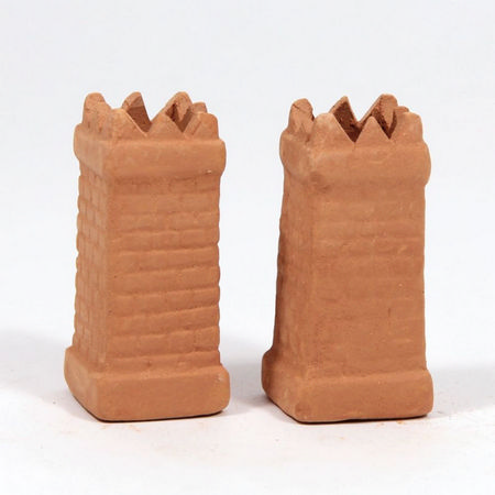Chimney Pots (pair) - Square Brick - for 1:12 Scale Dolls House
