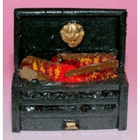 Dolls House Large Fire Grate with Glowing Logs