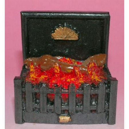 Dolls House Fire Grate with Glowing Logs