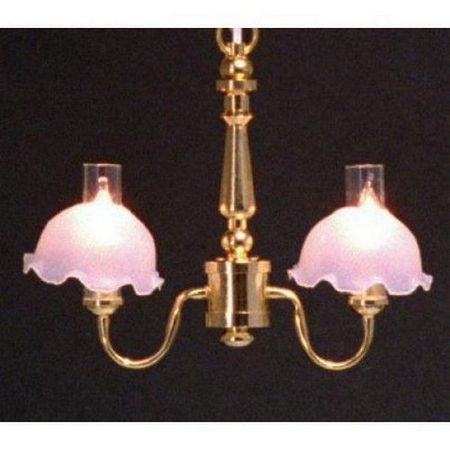 2 Arm Frosted Shade Chandelier