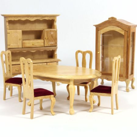 Oak Finish Dining Room Furniture Set 1:12