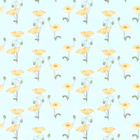 Yellow Poppy Dolls House Wallpaper