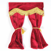 Red Velvet Curtains with Pelmet