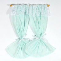 Turquoise Curtains for 1:12 Scale Dolls House