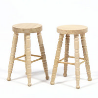 Natural Wood Bar Stools x2