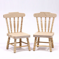 Set of 2 Dolls House Kitchen Chairs  - Plain Wood