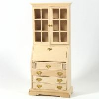 Book Case Bureau - 1:12 Scale - Plain Wood