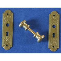 Victorian Solid Brass Door Knob and Plate Set