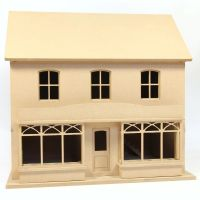 Double Fronted Dolls House Shop - Built, Unpainted (1:24 scale)