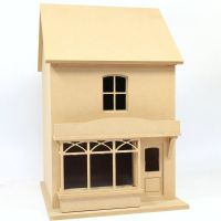 Small Victorian Style Dolls House Shop - Unpainted Kit (1:24 scale)