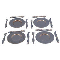 Miniature 4 Piece Metal Plate Cutlery Set