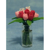 Miniature Pink Tulips in Clear Vase
