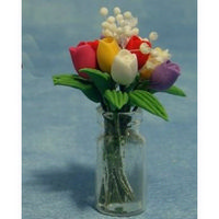 Miniature Assorted Tulips in Clear Vase