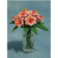 Miniature Pink Lillies in Clear Vase