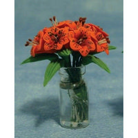 Miniature Orange Lillies in Clear Vase