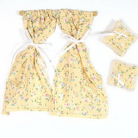 Beige Floral Dolls House Curtains & Cushions
