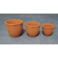 Terracotta Piecrust  Pots - Set of 3