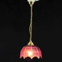 Hanging Tiffany Style Light - Pink Shade