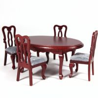 Oval Dining Table & 4 Chairs - Mahogany Finish