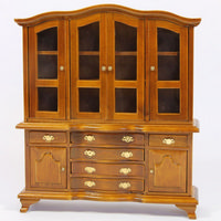 Large Walnut Dolls House Display Cabinet