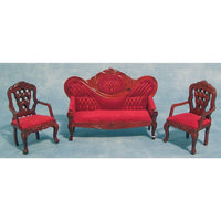 Red Dolls House Sofa & Chairs