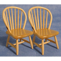 2x Pine Spindleback Chairs for Dolls House 1:12 Scale
