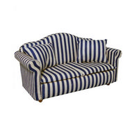 Blue & White Stripy Dolls House Sofa
