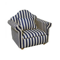 Blue & White Stripy Dolls House Armchair
