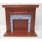 Mahogany Fireplace with Tiled Suround