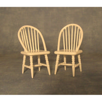 2x White Spindleback Chairs for Dolls House 1:12 Scale