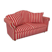 Red & White Stripy Dolls House Sofa