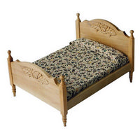 Pine Double Bed for Dolls House