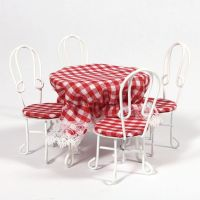 White Table & 4 Chairs for Dolls House