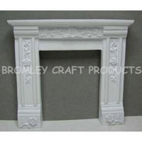 White Dolls House Fireplace with Ornate Detail
