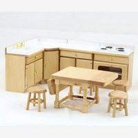 Pine Dolls House Kitchen Set