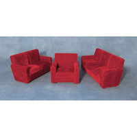 Burgundy Three Piece Dolls House Suite