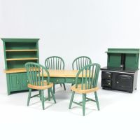 Green Painted Dolls House Kitchen Set