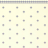 Fleur de Lys Dolls House Wallpaper -Blue / Ivory