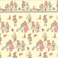 Children Design Cream Wallpaper