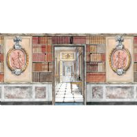 Library Panel Wallpaper with Door & Plaque
