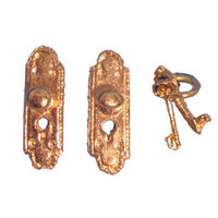 Brass Fingerplate Door Knobs with Key - Pair