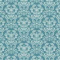 Renaissance Dolls House Wallpaper - White on Blue