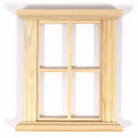 4 Pane Unpainted Window Frame for 1:12 Scale Dolls House