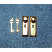 2 Brass Door Knob Plates and Key Set