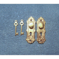 Traditional Brass Door Knob Plate and Key set for 1:12 Scale Dolls House