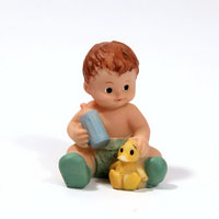 Baby With Bottle and Duck Resin Figure