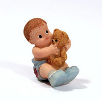 Baby With Teddy Resin Doll Figure