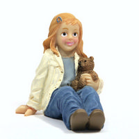 Resin Girl Holding Teddy Figure