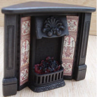 Dolls House Corner Fireplace with Glowing Fire